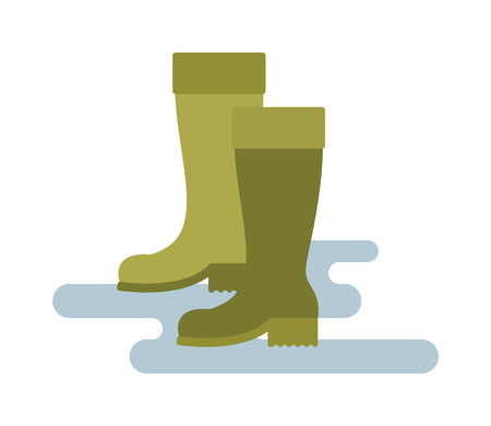 footware: Rain boots green color vector illustration isolated on white background. Green rubber rain boots. Rain boots flat cartoon vector. Rubber boots footwear waterproof. Illustration