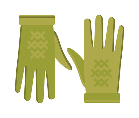 leather gloves: Spring green gloves cartoon vector illustration. Woman leather spring gloves isolated on white. Spring gloves fashion accessory. Womens spring gloves. Vector spring gloves.