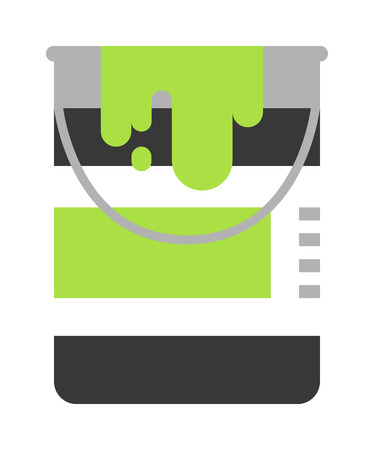 paint container: Paint bucket vector icon. Flat paint bucket cartoon vector illustration. Paint bucket with green color ink. Art work paint bucket container. Illustration