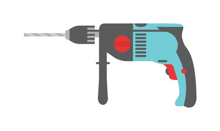 electro: Drill hand tool flat vector. Hand drill electro tools. Electric drill screwdriver icon. Some flat hand drill isolated on white background.