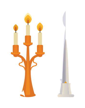 candlestick: Retro candlesticks with candles flat vector isolated on white. Golden candlestick with tree candles. Traditional candlestick decoration wax candles light. Illustration