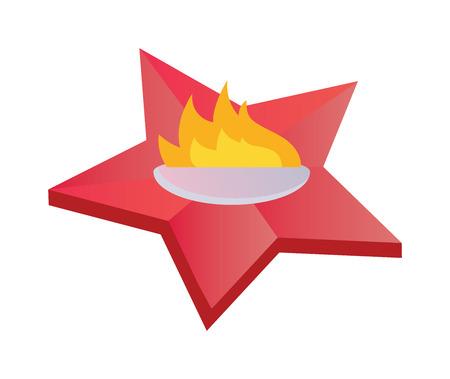 everlasting: Eternal flame symbolizing victory in Great Patriotic War. Everlasting memory star fire flat vector illustration. Everlasting memory flat memorial symbol. Illustration