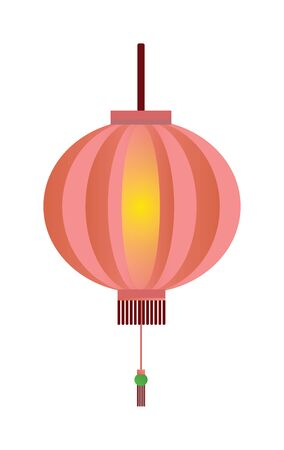 red lantern: Red chinese lantern flat vector illustration isolated on white. Chinese festival fire lamp. Chinese fire lamp symbol new year. Traditional chinese lantern.