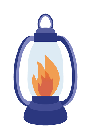 Oil table fire lamp lighting up flat vector illustration. Table fire lamp antique decoration. Retro table fire lamp. Vintage table candle in lamp.