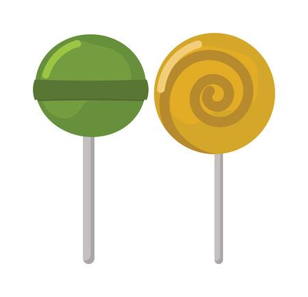 paleta de caramelo: Lollipop ejemplo dulce vector de comida. Lollipop colorido aislado en blanco ilustraci�n vectorial. Lollipop del caramelo de az�car. Lollipop dos dulce del caramelo. postre piruleta. Lollipop vector de dibujos animados de color. Vectores