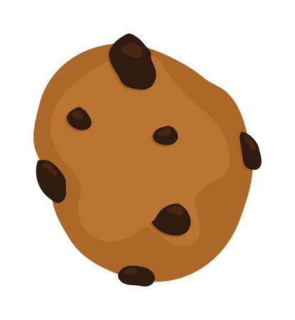 chocolate chip: Gingerbread cookie isolated on a white background. Chocolate chip cookie on white. Gingerbread cookie sweet food. Gingerbread cookie traditional biscuit. Gingerbread cookie round dessert. Illustration