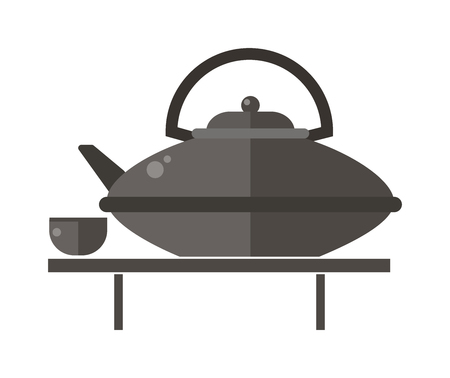 chinese teapot: Kettle teapot on gray table flat vector illustration. Teapot and cups. Kettle teapot traditional tea ceremony. Chinese teapot symbols. Illustration