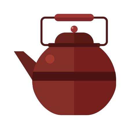 Bouilloire théière sur la table grise vecteur plat illustration. Théière et tasses. Bouilloire théière traditionnelle cérémonie du thé. symboles de théière chinois.