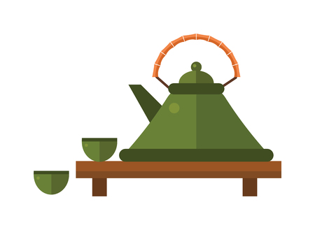 tea ceremony: Chinese tea vector symbols. Tea set on white background. Traditional eastern teapot and teacups. Some traditional chinese tea ceremony. Chinese tea flat vector illustration set.