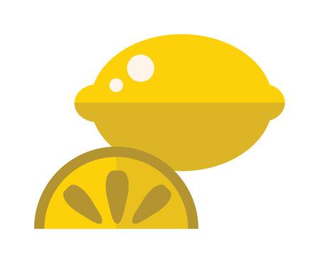 lemon slice: Lemon slice flat vector illustration. Slice of lemon on white background. Juicy lemon with slice. Flat yellow lemon slice cartoon vector food.