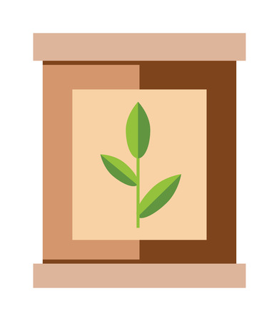 green tea leaf: Tea pack with green tea leaf food packaging vector illustration. Packaging tea bag. Paper tea pack. Brown paper tea pack. Container tea pack. Tea pack cartoon vector. Tea pack. Tea pack box with green tea leaf.