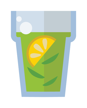 green tea cup: Green tea cup vector illustration. Hot cup with green tea and green leaves. Green tea healthy drink. Fresh green tea fresh hot drink.