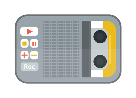 media equipment: Tape recorder or dictaphone flat icon isolated on white background vector illustration. Journalism dictaphone media equipment. Hand dictaphone cartoon vector.