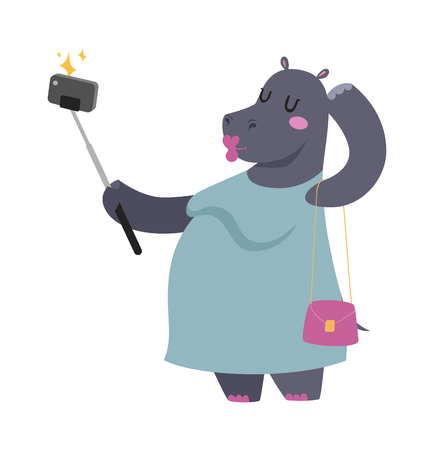 Selfie photo hippo fat woman vector portrait illustration on white background. Cartoon hippo fat woman, hippo vector. Illustration