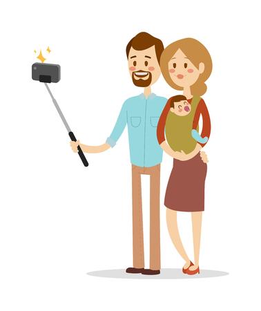 friends having fun: Selfie family portreit vector illustration. Selfie shot man, woman, small kid. Vector selfie people set. Illustration