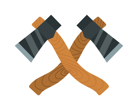 timber: Axes timber lumberjack tools flat vector illustration. Two axes isolated on white background. Two axes timber for chopping wood. Lumberjack tools flat symbols