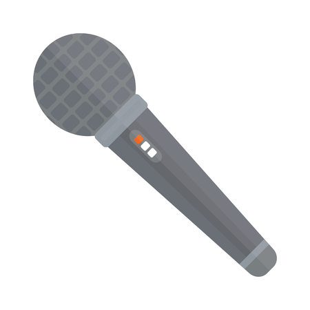 news event: TV news or event microphone with blank box isolated on a white background flat vector illustration. Web broadcasting news microphone. Media TV news microphone. Illustration