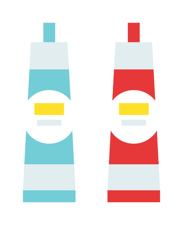 chemical material: Glue tube cartoon flat vector illustration. Vector image of tube with super glue. Glue tube repair liquid. Glue fix chemical material