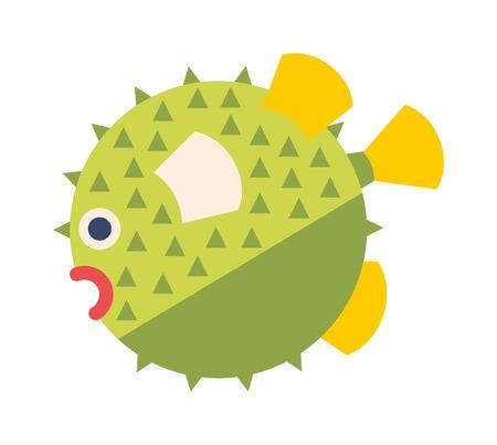 fauna: Fish hedgehog cartoon ocean life vector. Green fish hedgehog isolated on white. Fish hedgehog tropical fauna. Danger hedgehog vector illustration. Illustration