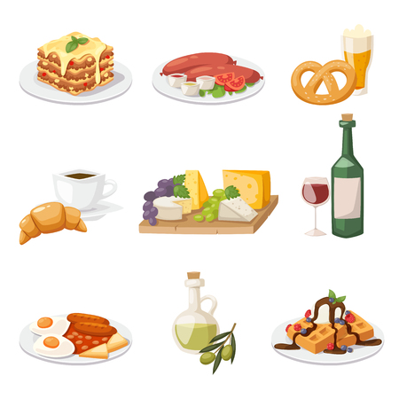 pan y vino: ilustración europea vector de dibujos animados desayuno. Conjunto del recorrido europeo de alimentos de los alimentos frescos desayuno por la mañana. desayuno europeo concepto de comida sana plana.