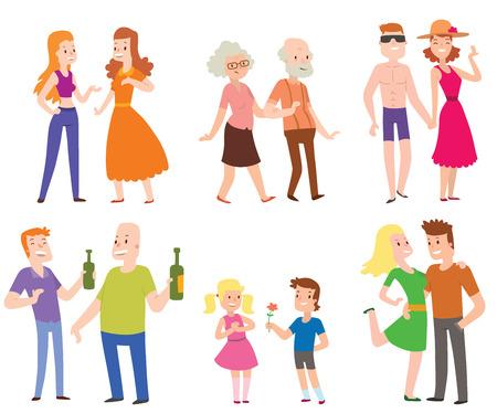 old people: People couples, men, women, old men, boys, love set of characters flat vector illustration. Couples people. People happiness family couples. People relationships. Illustration