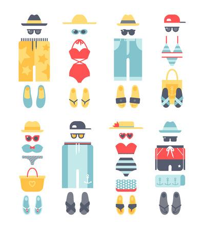 folded clothes: Beachwear different flat vector summer icons, beachwear cloth fashion looks. Beach summer clothes illustration