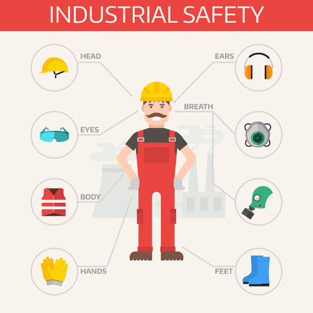industry: Safety industrial gear kit and tools set flat vector illustration. Industrial safety set. Body protection worker equipment elements infographic. Illustration