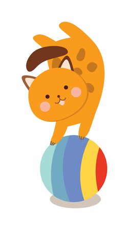 Circus cats . Set of cheerful circus cats. illustration for childrens with circus cats. Isolated cartoon cats animals in circus. Cute Circus playing cats. Illustration