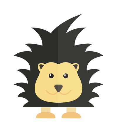 porcupine: Fun zoo illustration of cute cartoon porcupine australia echidna character and australia porcupine vector. Cute cartoon porcupine australia wildlife echidna mammal animal flat vector illustration.