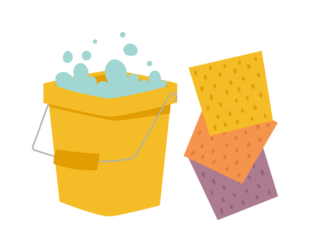 equipment: Yellow cleaning bucket with green cloth, cleaning bucket house sanitary equipment vector - bucket and cloth for cleaning housework flat vector illustration isolated on white.
