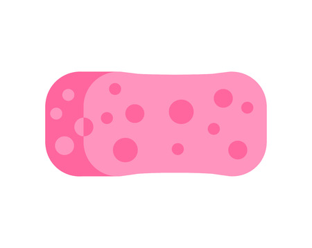 ware: Cartoon spong scouring pads for housework cleaning and spong domestic work tools. Kitchenware scouring pads spong flat icon cartoon vector illustration, sponge for ware washing.