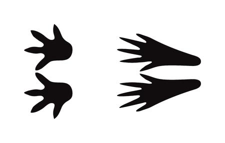 huellas de animales: sedimentos animales negros y los pasos de mamíferos animales de la fauna, restos de animales domésticos. Animal se alza la silueta de los pasos huellas de animales y rastrea los pasos aislados traza en blanco para el concepto de la vida silvestre de diseño vectorial.