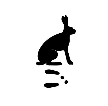 animal silhouette: Wild hare rabbit animal black silhouette and wild animal predator symbol. Predator silhouette. Wild life black animal silhouette. Black silhouette wild animal zoo vector.