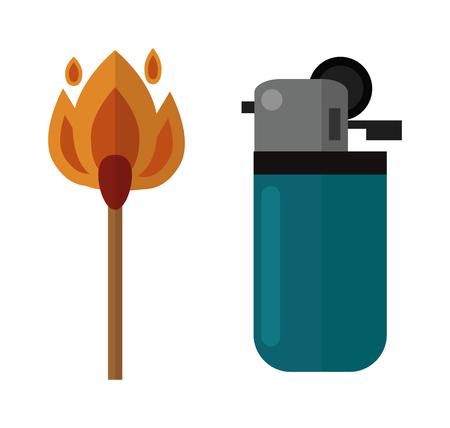 pyromania: Blue little lighter and burning matches. Matches and hot lighters. Matches ignite and bright flammable lighters. Plastic lighter blaze object vector. Vector burning matches sticks and lighters.