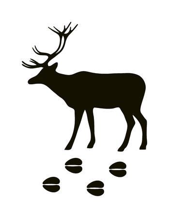 animal silhouette: Wild deer animal black silhouette and wild animal predator symbol. Predator silhouette. Wild life black animal silhouette. Black silhouette wild animal zoo vector.