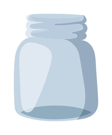 unoccupied: Empty glass bank blank jar classic home dishes vector. Vacant empty bank unoccupied jar and empty bank finansial jar savings concept. Glass Jar for canning and preserving with cover empty bank vector. Illustration