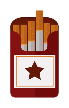 tobacco product: Icon cigarettes pack design idea and smoke cigarettes pack problem concept. Narcotic product cigarettes pack tobacco danger symbol. Open cigarettes pack box flat style vector illustration. Illustration