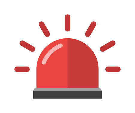 Alarm icon emergency sound bell and red alarm icon security reminder. Warn red alarm urgent protection icon. Attention red alarm. Police or ambulance red flasher siren alarm icon flat style vector.