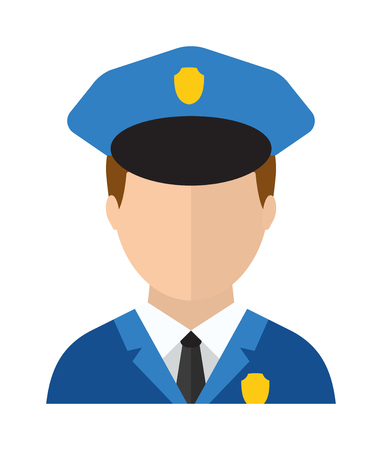 security uniform: Trendy policeman uniform character icon flat style and crime protection police man avatar suit cap. Professional policeman protection. Police man officer avatar in suit and cap vector illustration.