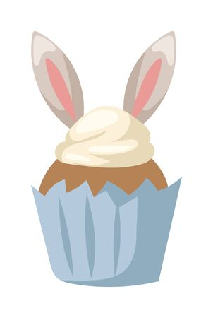 easter candle is burning: Easter bunny cake spring celebration and seasonal easter traditional cake with bunny ears. Traditional sweet easter cake holliday vector.