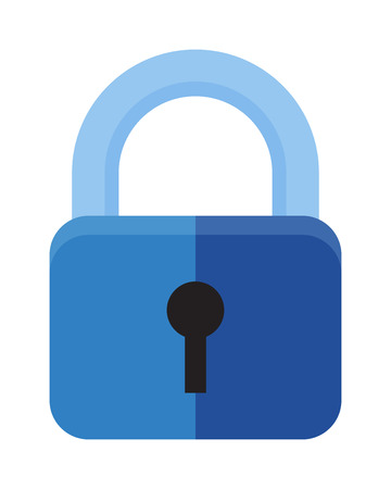 safeguard: Protection security lock safety element and private shaped lock secure system. Flat lock with keyhole for safeguard. Vector illustration of security concept with locked blue combination pad flat lock.