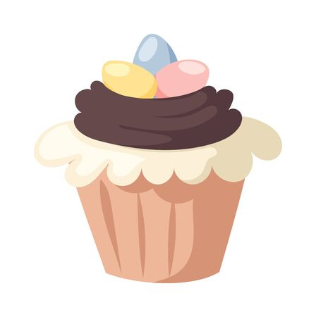 holliday: Easter cake spring celebration and seasonal easter traditional cake. Traditional sweet easter cake holliday vector. Illustration