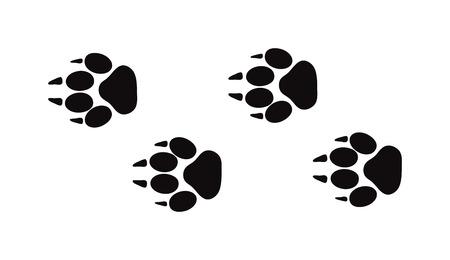 vogelspuren: Tier schwarz Füß und Tierwelt Tier Säugetier Schritte, Tierspuren. Tier Füß Silhouette Tier Fußspuren Schritte und Spuren getrennt Schritte Spuren auf weiß für die Tierwelt Konzept-Design-Vektor. Illustration