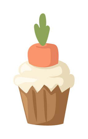 homemade cake: Vegetable carrot cake tasty delicious and carrot cake cream traditional decoration. Delicious cupcake beautiful appetizing carrot butter cream. Sweet homemade carrot cake gourmet fresh dessert vector.