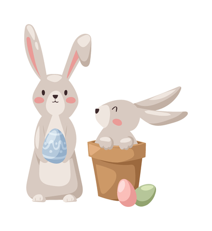 cartoon easter basket: Gray easter rabbit bunny with egg traditional symbol of spring seasonal celebration and happy bunny rabbit head. Easter Bunny and eggs cute cartoon animal flat vector illustration.