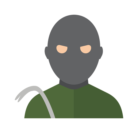 mugger: Thief man dark bad avatar green shirt and thief man steel scrap. Avatar thief bad criminal man law mugger, housebreaking. Lawbreakers cracker. Thief man in the hood danger person in black mask vector.
