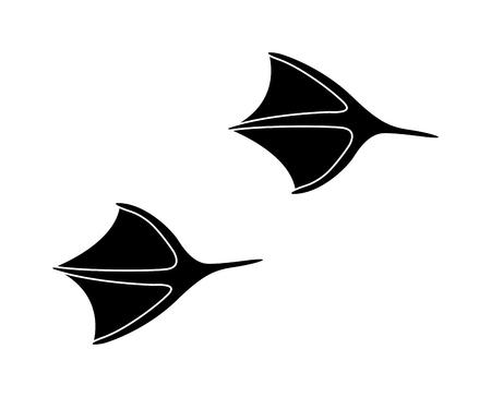 animal tracks: sedimentos animales negros y los pasos de mamíferos animales de la fauna, restos de animales domésticos. Animal se alza la silueta de los pasos huellas de animales y rastrea los pasos aislados traza en blanco para el concepto de la vida silvestre de diseño vectorial.