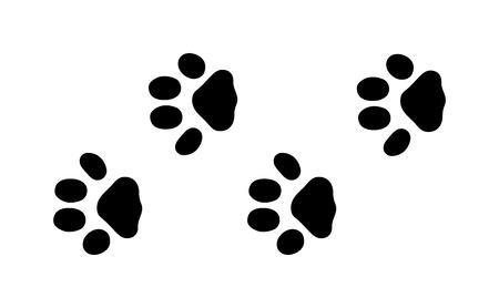 huella pie: sedimentos animales negros y los pasos de mamíferos animales de la fauna, restos de animales domésticos. Animal se alza la silueta de los pasos huellas de animales y rastrea los pasos aislados traza en blanco para el concepto de la vida silvestre de diseño vectorial.