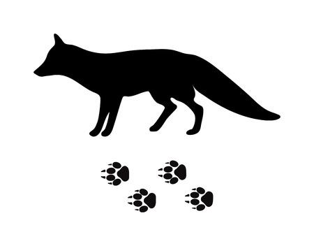predator: Wild fox animal black silhouette and wild animal predator symbol. Predator silhouette. Wild life black animal silhouette. Black silhouette wild animal zoo vector. Illustration