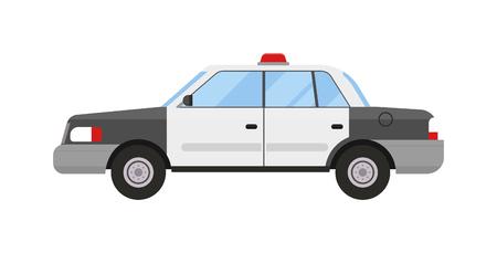 Polizeiauto Notfall Patrouille Auto und Sicherheitspolizei Autolicht Patrouille Kreuzer. Straßenpolizeiauto Scheinwerfer Sicherheitsgesetz Transport. Verkehrsüberwachung. Polizeiauto Sport modernen Stil flachen Vektor.